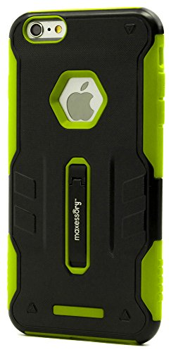 (iPhone 6s Plus (5.5 Inch) Case, Maxessory Lime Green Storm Dual-Layer Rugged Hybrid Armor Rigid Ultra-Slim Kickstand Protector Hard Back Grip Fit Tough Rubber Cover Shell)