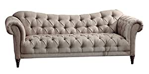 Homelegance Chesterfield Traditional Style Sofa with Tufting and Rolled Arm Design, Brown/Almond