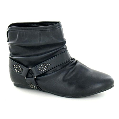Spot On Womens/Ladies Flat Rounded Pull On Ankle Boots (5 UK) (Black)