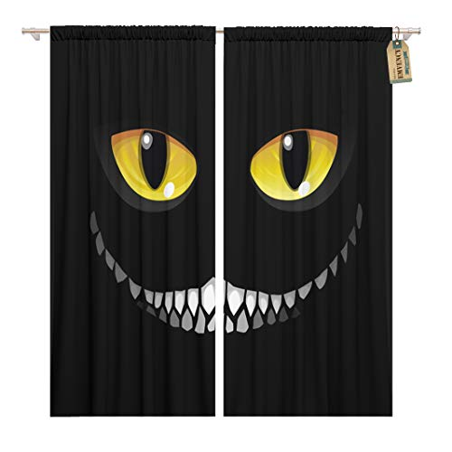 Golee Window Curtain Yellow Black Cat in Darkness Glowing Eyes and Sinister Home Decor Rod Pocket Drapes 2 Panels Curtain 104 x 84 inches -