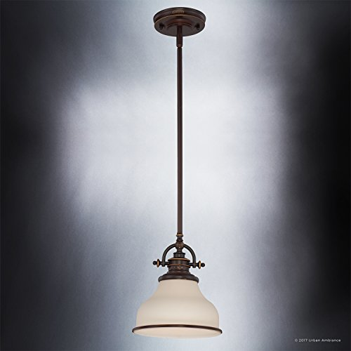Luxury Industrial Pendant Light, Small Size: 9.5''H x 8''W, with Americana Style Elements, Nostalgic Design, Oil Rubbed Parisian Bronze Finish and Opal Etched Glass, UQL2338 by Urban Ambiance by Urban Ambiance (Image #4)