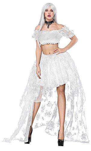Charmian Women's Halloween Bride Costume Two Pieces Set