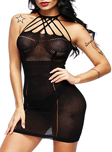 - Woosifun Women Fishnet Lingerie See Through Sleepwear V-Neck Babydoll One Piece Mini Dress One Size