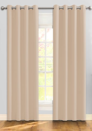 Ifblue Best Room Darkening Thermal Insulated Grommet Window Curtains -Blackout Curtains Drapes for Bedroom, Living Room, Kids Room-2 Panels 52 X 95 Inch each, Beige