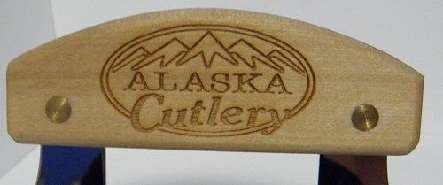 Alaskan Inupiat Style Ulu with Alaska Cutlery Etched Birchwood Handle, 6.25'' Blade