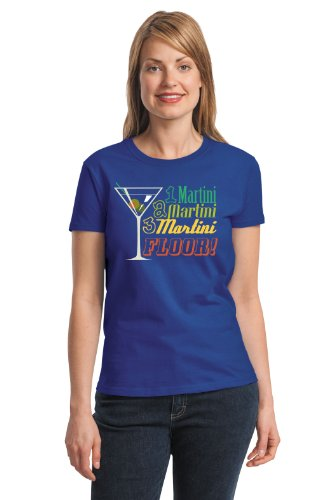 Somewhere Martini T-shirt (ONE MARTINI, TWO MARTINI...FLOOR! Ladies' T-shirt / Funny Drinking Booze T-Shirt-Blue-XXX-Large)