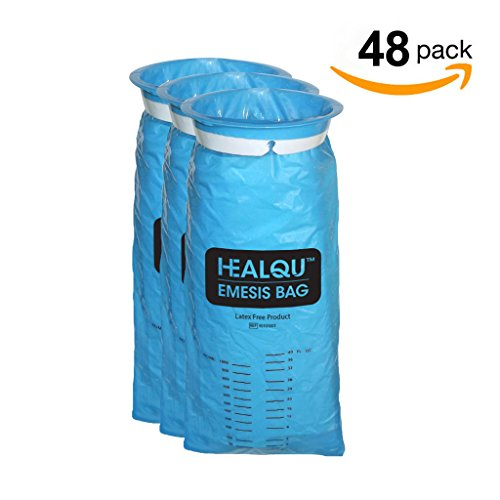 Emesis Bags, Disposable Vomit Bag, Blue Disposable Emesis Bag By HealQu (48 Bags) by HealQu