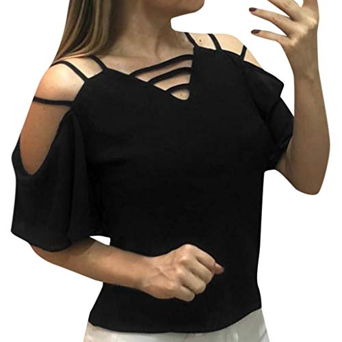 NCCIYAZ Womens Top Cold Shoulder Straps V-Neck Solid Short Sleeve Blouse Ladies Sexy Party Daily Shirt(XL(8-10),Black)