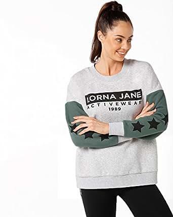 Lorna Jane Women Athleisure Classic Sweat, Grey Marl/Military, L