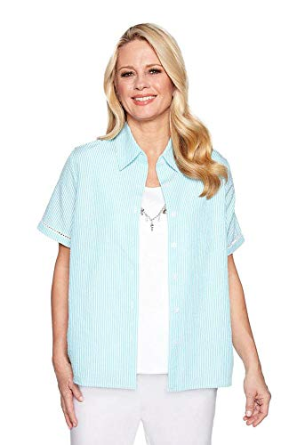 - Alfred Dunner Women's Catalina Island Seersucker Two for One Top (X-Large, Aqua)