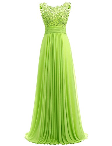 Bess Bridal Women's Long Chiffon Prom Dress Lace Formal Evening Gowns US12 Lime Green