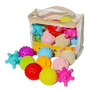 10pcs balles sensorielles douces bébé balles de massage de prise à la main avec BB effet sonore préhension balles jouets éducatifs pour enfants bébé 3