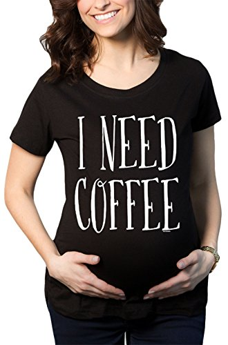 HAASE UNLIMITED Women's I Need Coffee Maternity T-Shirt (Black, Large)