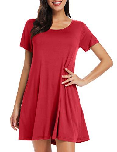 BELAROI Women's Short Sleeve Swing Dresses Summer Casual Pockets T Shirt Dress(M,Wine Red)