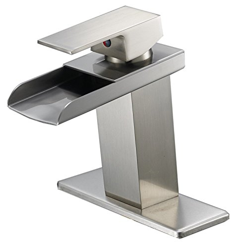 Bathlavish Waterfall Bathroom Sink Faucet Brushed Nickel Single Handle One Hole Deck Mount Lavatory Faucet Commercial ()