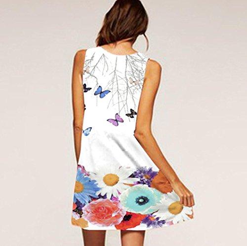 Femme Mini Vintage Boho manches robe Summer Blanc GreatestPAK Beach taille Imprim courte sans Plus vtqC1wF0