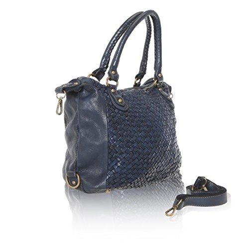 Chicca Vintage 35x26x12 entrelacé Borse véritable Cuir Line in Bleu en à Sac Made main Italy Femme Cm 4r4q65