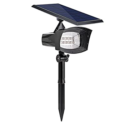 KEDSUM Solar Lights,2-in-1 8 LED 300 Lumens Solar Spotlight Weather-resistant Wall Light Landscape Light for Driveway, Yard, Lawn, Pathway, Garden (White Light)