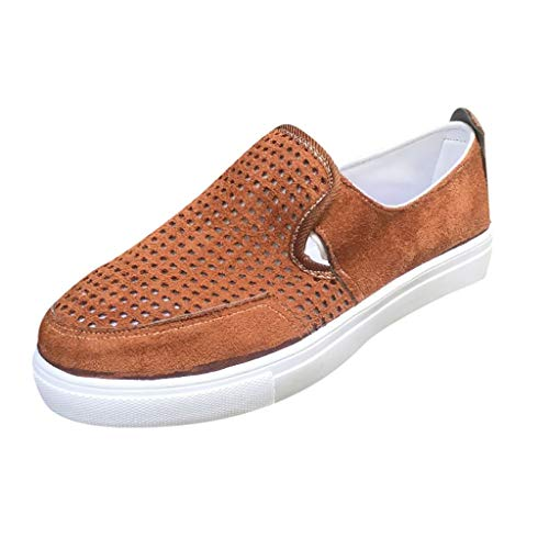 (TIFENNY Women's Fashion Canvas Platform Shoes Casual Sneakers Retro Slip On Pumps Shoes Comfort Driving Shoe Brown)