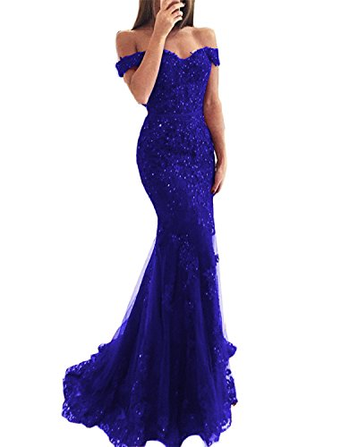 WuliDress Long Lace Mermaid Evening Dress For Women Off The Shoulder V Neck Formal Prom Party Gown Royal Blue US4