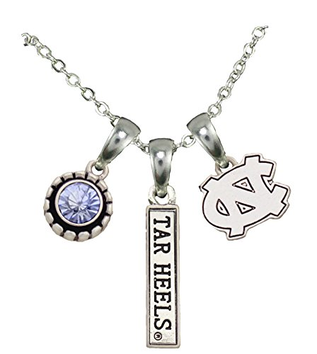 Sports Accessory Store North Carolina Tar Heels 3 Charm Blue Crystal Silver Chain Necklace Jewelry UNC