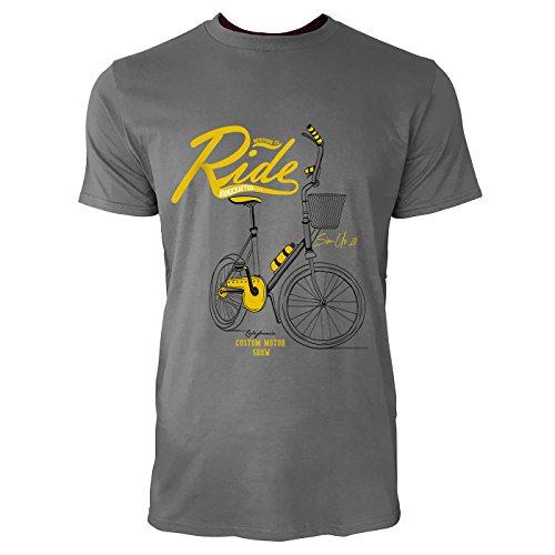 SINUS ART® KultigesFahrrad mit Korb in Senfgelb Herren T-Shirts in Grau Charocoal Fun Shirt mit tollen Aufdruck