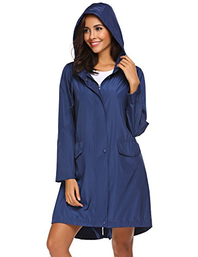 Teewanna Womens Rainwear Active Outdoor Hooded Cycling Packable and Lightweight Jacket (Navy Blue L) ()