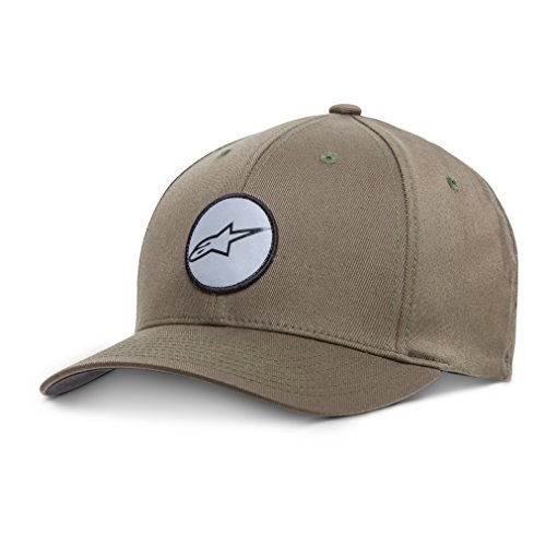 Alpinestars Men's Curved Bill Structured Crown Flex Back Logo Patch Flexfit Hat, GTO Military, L/XL
