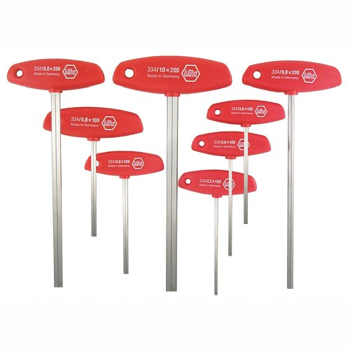 8pc T-handle Hex Key Set - Wiha 33493 8-Piece 2.0-10mm Metric Sizes T-Handle Hex Driver