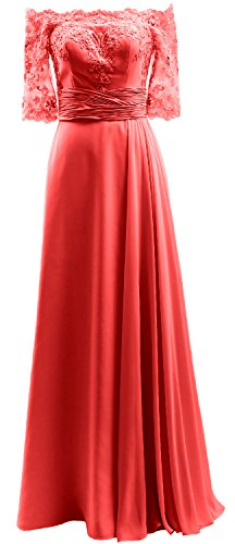 The MACloth Half Gown Off Formal Dress Sleeve Prom Shoulder Chiffon Red Evening Lace 1wqf4q6F