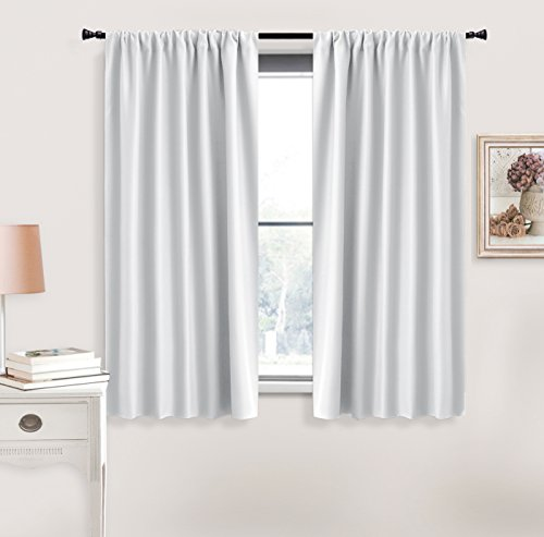 Kitchen Bathroom Bedroom (RYB HOME Room Darkening Window Curtains Home Decoration Thermal Insulated Window Draperies Rod Pockets for Girl's Bedroom, Kitchen and Bathroom, Greyish White)