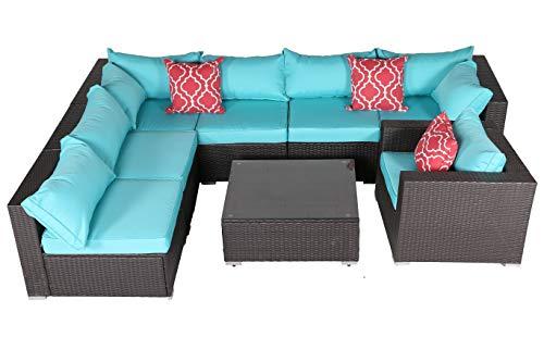 Do4U Patio Sofa 8-Piece Set Outdoor Furniture Sectional All-Weather Wicker Rattan Sofa Turquoise Seat & Back Cushions, Garden Lawn Pool Backyard Outdoor Sofa Wicker Conversation Set (7555-Turquoise-8)