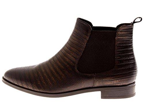 KimKay Chelsestiefelette Stiefelette Damenschuhe Schuhe Chelsea Boots Leder Bronze