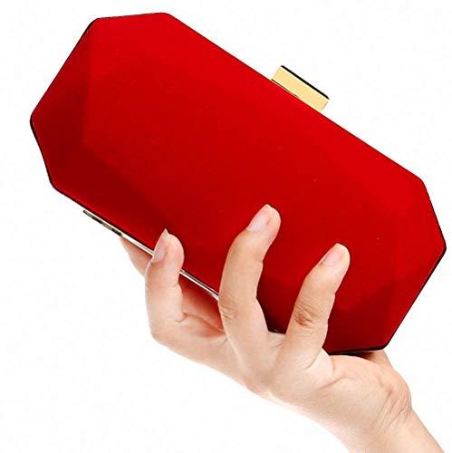 Noche Rojo 8x4x2inch Rojo De Mujer Castaño Gamuza Para Color Bolso Eeayyygch 20x10x6cm qO14EE