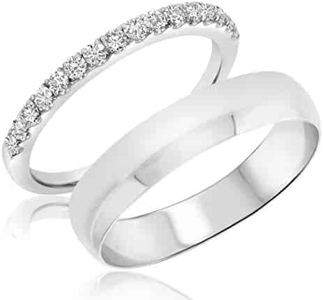 9d375ba0278ad 1 3 Carat T.W. Round Cut Diamond His and Hers Wedding Band Set 10K White