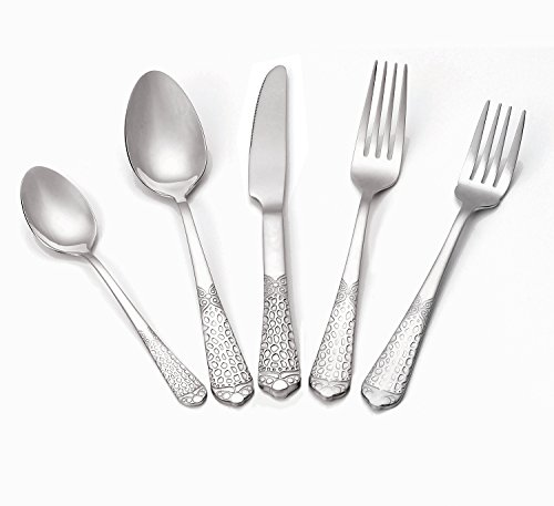 Italian Collection 'Tribal Platinum' 20-Pc Silverware Flatware Serving Set, Service for 4, 18/10 Stainless Steel Silver Plated Dining (Silver Plated Hostess Set)
