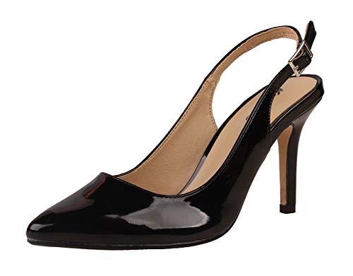 Kunsto Women's Slingback Heel Sandals Pointed Toe Ankle Strap Black Size - Sandal Slingback Patent