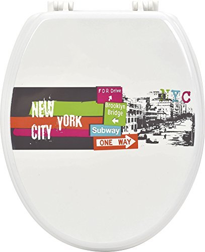 EVIDECO Evidence Urban NY Shower Curtain Designed Toilet Seat, Oval, Elongated, Multicolor, Pink, Green, Orange, Blue (Sign Nyc Subway/4)