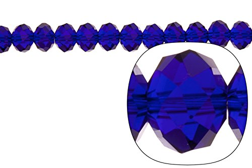 Crystal bead, facet rondelle, sapphire blue, 8x10mm Sapphire Facet Rondelle Beads