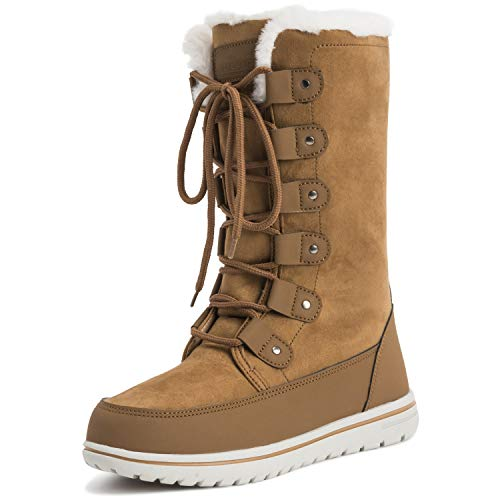 (Polar Womens Tall Snow Warm Calf Waterproof Durable Outdoor Winter Rain Boots - 8 - TAN39 AYC0532)