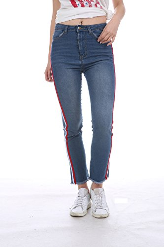 Womens High Waisted Jeans Stretch Straps Side Skinny Juniors Long Blue Denim Pants