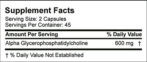 Alpha GPC 300mg, Choline Supplement, Powerful Nootropic for Memory and Brain Health, Improve Focus and Mood, Bioavailable Source of Choline, Pure Alpha GPC 300mg Powder Complex, 90 Vegetarian Capsules
