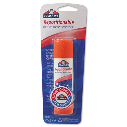 Elmer's Repositionable Picture and Poster Glue Stick, 0.88 Ounces, White (E623) (Repositionable Glue Stick)