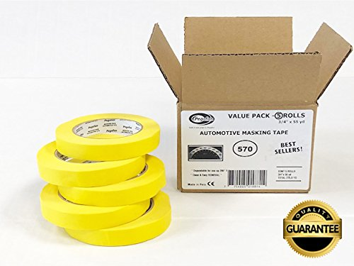 PEGAFAN AUTOMOTIVE PERFORMANCE VALUE PACK (5 ROLLS) Refinish YELLOW Masking Tape 3/4'' x 55yd. 200 F Performance Temperature, 28 lbsin Tensile Strength. #1 Voted in specialized painting Workshops. by PEGAFAN
