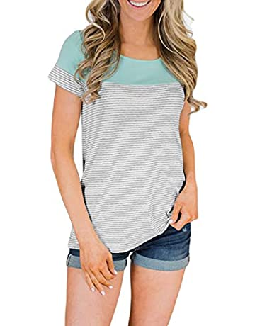 59886775 BLENCOT Women's Casual Round Neck Striped Color Block Short Sleeve Shirts  Blouses Tops