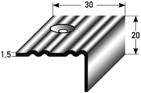 10 metros (10 x 1 m) - Perfil de escalera (42 mm x 50 mm) de aluminio anodizado, perforado, plateado: Amazon.es: Hogar
