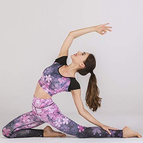 Fiore della Stampa Set Yoga Fitness Completi Donna Dry Fit Gym Abbigliamento Nuovi Vestiti di Allenamento for Le Donne Maglietta Leggings Kit Size : S HONGHUIYANG Set di Yoga