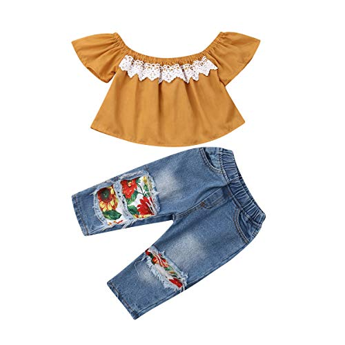 Little Baby Girls Ruffle Off Shoulder Yellow Top + Ripped Hole Jeans Denim Long Pant Summer Clothes Set Two Piece (2-3T, - 2 Piece Fairy Ruffle