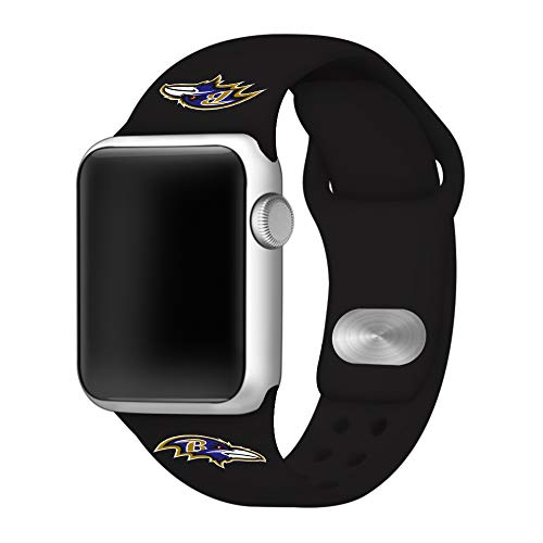 (Game Time Baltimore Ravens Black Silicone Sport Band Compatible with Apple Watch - Band ONLY)