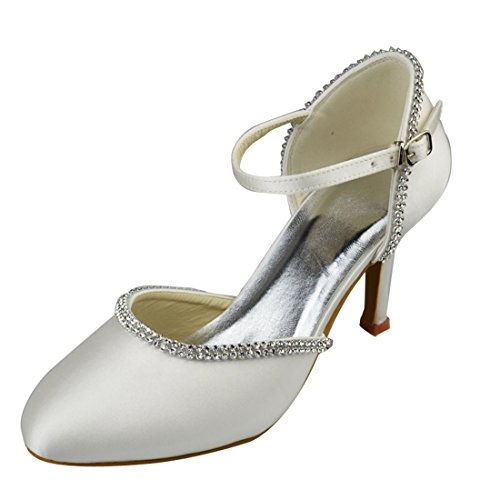 Ivory Heel Sparkle Wedding 8cm High Satin Minitoo Party Heel Pumps Strappy Bridal Womens Evening Shoes 0C8qxw7
